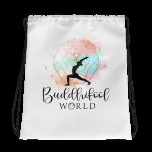 Buddhifool Drawstring Bag (White)